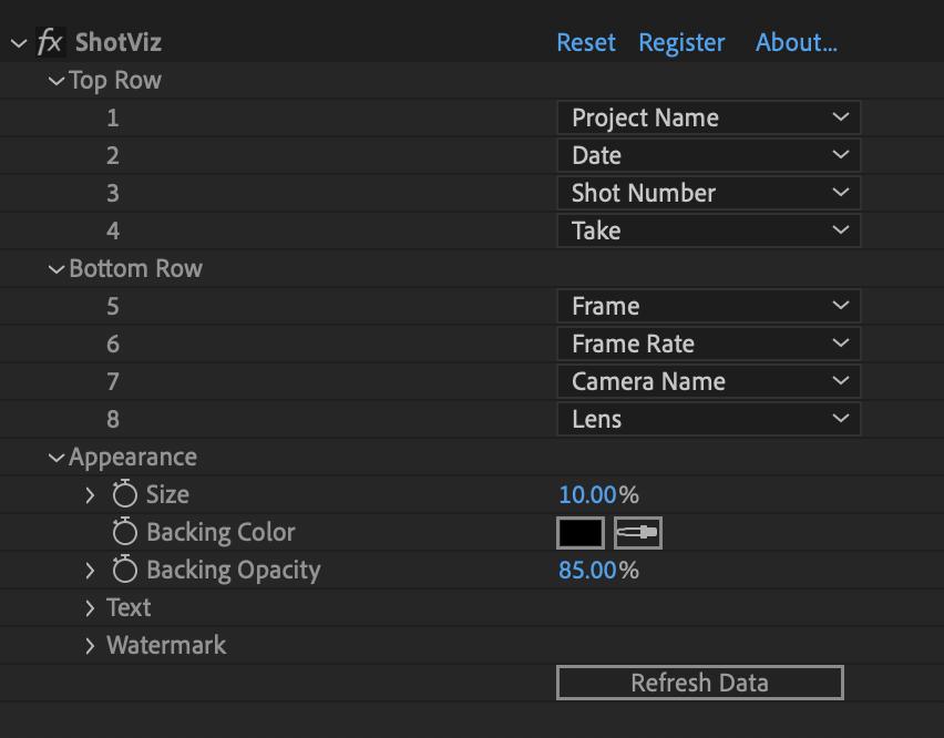 ShotViz AE/Premiere UI
